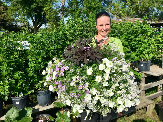 Val with her winning hanging basket!